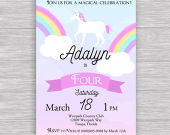 Watercolor Unicorn Invitation (DIGITAL file only),  with rainbow, clouds, pink, blue, purple, whimsical unicorn digital file printable