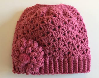 READY TO SHIP/Messy Bun Hat/Rose Pink Hat/Crochet/Knit Knitted Hat/Lace/Beanie/Cap/Flower/Ponytail Hat/Adult/Women/Ladies/Girls/Winter/Toque