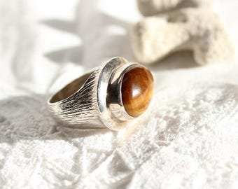 Vintage Large Tigers Eye Ring, Modernist Handmade Ring, Statement Ring, Sterling Silver Ring, Israel Silver Ring-R0014