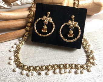 Vintage Avon delicate pearl heart necklace, Avon tiny bells hoop earrings, Avon necklace earrings, 2 piece Avon jewelry
