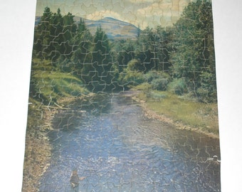 Jigsaw Picture Puzzle Blue Skies and Blue Waters Fisherman Vintage 1940s Guild 2900