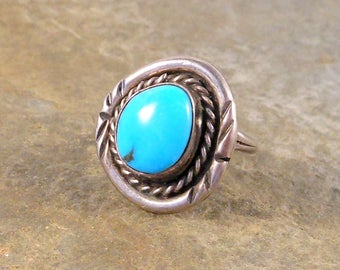 Ring Navajo Handmade Sterling Silver Turquoise Size 4.75 Native American Handmade Ring Southwestern Jewelry Gift For Her