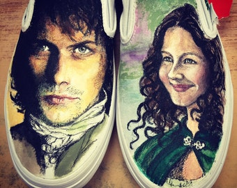 Custom painted characters from the Outlander series - Jamie and Claire.