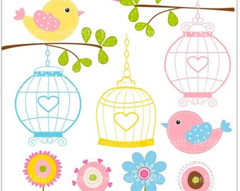ON SALE birds clip art - Digital clip art, Birds and Birdcages clip art, Birds, flowers clip art, birdhouse clip art, pink, instant download
