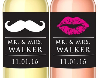 Mr. and Mrs. Custom Wine Labels - Set of 2 - Wine Lovers Wedding Favor - WEATHERPROOF - Lips and Mustache Label - Wine Bottle Labels