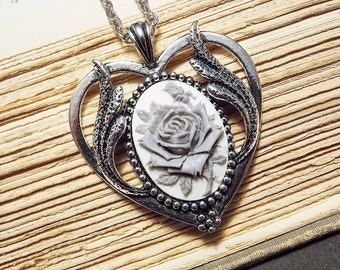 White and Silver Rose Cameo Necklace