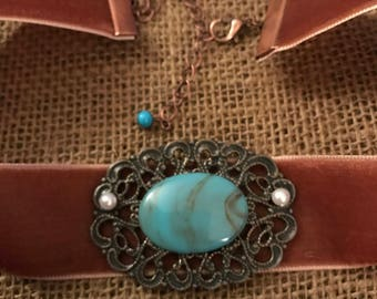 "1"" copper color velvet choker with one of a kind turquoise pendant with pearl accent"