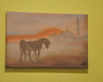 """Mosque Art - 10x15"""" Horse Art - Sunset Art - Mountain Art - Middle East - Afghan"""