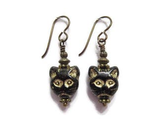 Black Cats with Gold Wash Highlights Cat Lover Earrings on Niobium Ear Wires (1643)