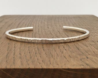 Silver textured cuff bangle, hallmarked