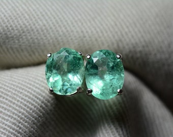Emerald Earrings, Colombian Emerald Stud Earrings 3.37 Carats, Appraised at 3,000.00 Sterling Silver,Real Natural, May Birthstone, Oval Cut