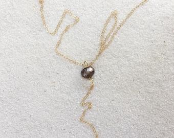 Minimal Black Pearl Lariat