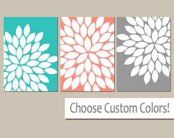 Turquoise Coral Wall Art, Flower Petal Art, Flower Decor, CANVAS or Prints, Floral Bedroom Wall Decor, Coral Gray Bathroom Decor, Set of 3