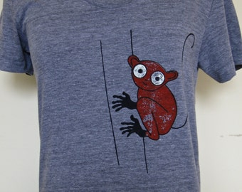 Womens Shirt Athletic Grey with Tarsier Illustration