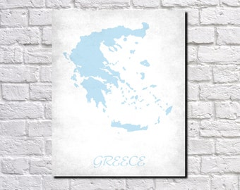 Greece Map Print Map of Greece Country Map Poster Greek Gift Home Decor Wall Art