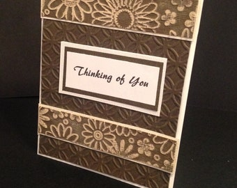 A handmade Thinking of You Card that has been embossed and then sanded