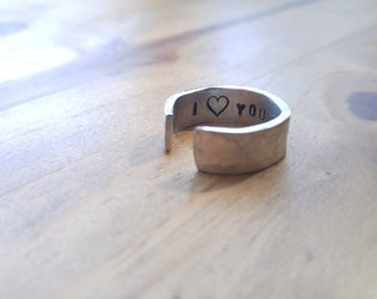 Solid Pewter Hidden Message Ring, Hammered Finish, Personalized
