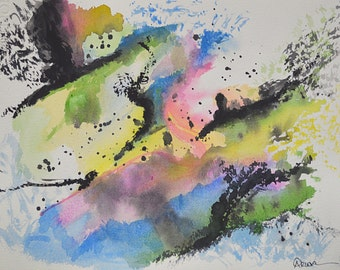 Northern Lights 1 - Original Watercolor Painting 9.75 x 13 inches Abstract, Blue, Green, Yellow, Magenta, Black, White