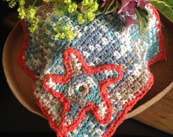 Handmade  Starfish Cotton Facecloth