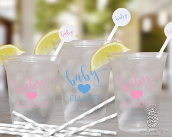 Heart Baby Shower | Customizable Clear Disposable Cups | social graces Co
