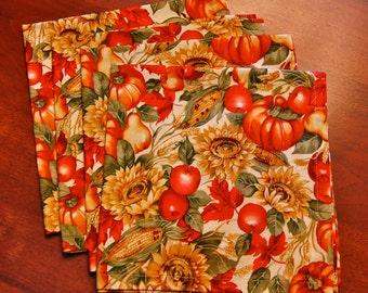 Four (4) Fall Harvest / Thanksgiving Napkins (HANDMADE)