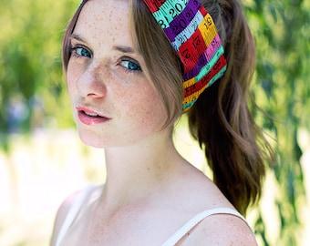 Tape Measure Headband, Dolly Bow, Rockabilly Hair Wrap, Crafty Headband, Sewing Fabric Hair Tie