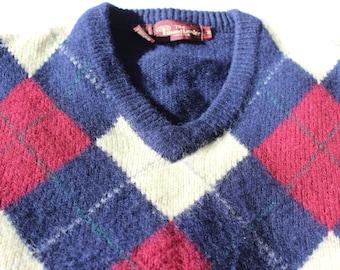 Vintage Argyle Wool Sweater V Neck The Grand Leader Stix Baer and Fuller Men's Medium
