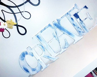 "Set of 6 Shabby Chic Block Letters: ""CREATE"""