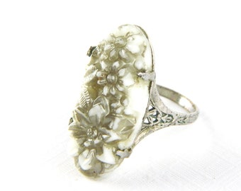 Antique Victorian Silver Filigree Celluloid Flower Ring - Rhodium Plated - Silver Molded Carved Cellluloid - Elongated - Size 7