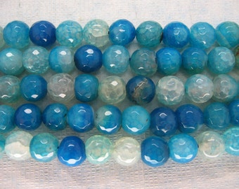 Cyan Blue Veins Agate Faceted Round Beads 10mm