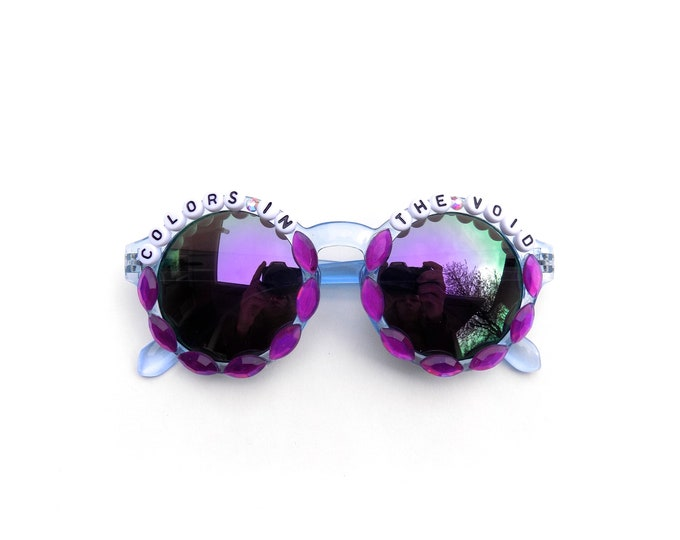 """Phish """"Colors in the Void"""" Hand Decorated Sunglasses, Phish Scents and Subtle Sounds, funky festival shades, Phish novelty gift"""