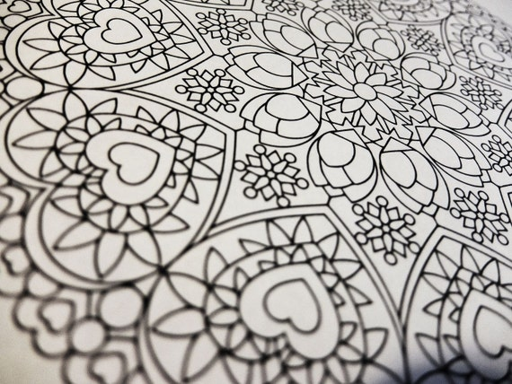 Mindfulness Coloring Pages Pdf : Mandala coloring page valentine s day printable
