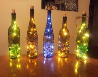 Lovely Wine Bottle Lamp, Night Light, Lighted Wine Bottle, Wine Decor, Bar Decor