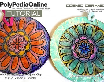 Polymer Clay Tutorial, Faux Ceramic, Earring Tutorial, PDF Tutorial, Polymer Clay Beads, Jewelry Tutorial, Polymer Ceramic, Video, Fimo