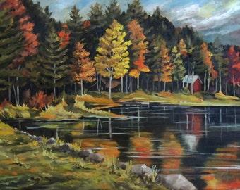 Round Pond in Newbury Vermont Framed Oil Painting