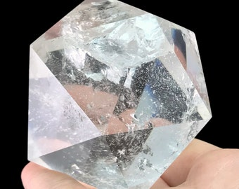 Icosahedron D20 Clear Quartz Crystal Sacred Geometry Platonic Solids I306
