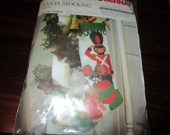 Vintage Needlepoint Stocking Kit Christmas Toyland Bernat W08059 Toy Soldier Complete and Ready to Stitch