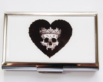 Skull Card Case, Business Card Case, Card case, business card holder, skull, skeleton, skull with crown, Day of the dead (3531)