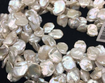 Natural Keshi Freshwater Pearl Loose Bead Size 14-15mm 15.5'' Long Per Strand.I-PEA-022118