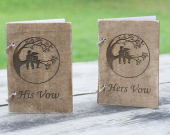 Wooden Vow Books Rustic Wedding Tree Vow Books Wedding Vows Country Wedding Decor Wood Guest Book