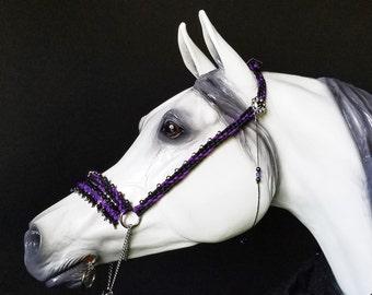 Hand Braided Arabian Style Show Halter, Horse Tack, BLACK / PURPLE  w/Bling,  Swarovski Crystals---New!