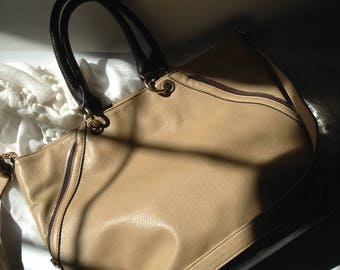 Large Tan with Brown Trim Faux Leather Tote / Top Handle / Crossbody / Shoulder Bag / Work or Travel