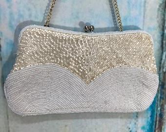 White WALBORG Richere Seed Bead Pearl Bridal Clutch Handbag 60s