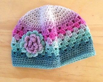 Pink and Teal 3-6 Months Baby Girl Crochet Hat