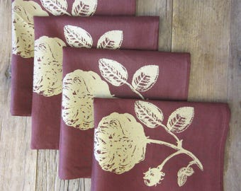Hand Dyed and Silk Screened Napkins (Set of 4)