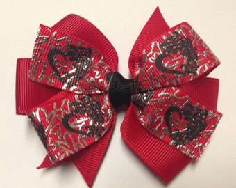 """3.5"""" red heart Valentine's Day foil ribbon hair bow birthday party favor pinwheel baby toddler teen stacked layer Christmas stocking stuffer"""