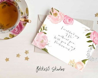 Soft Pink Floral Will you be my Bridesmaid card, maid of honor, bridesmaid invitation, bridesmaid proposal, bridal party, wedding party card