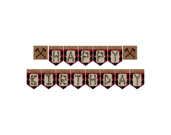 Lumberjack Buffalo Plaid Birthday Party Banner