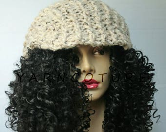 The Satin Lined OVERSIZED Handknit Brimmed Slouchy Hat /Full Stretch Satin Lining