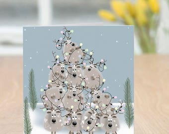 Persevere - Cute and Quirky Humorous Reindeer Christmas Card (Blank Inside)